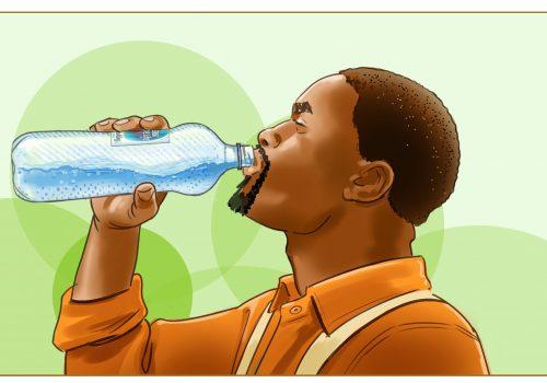 Man Drinking Nestle Water