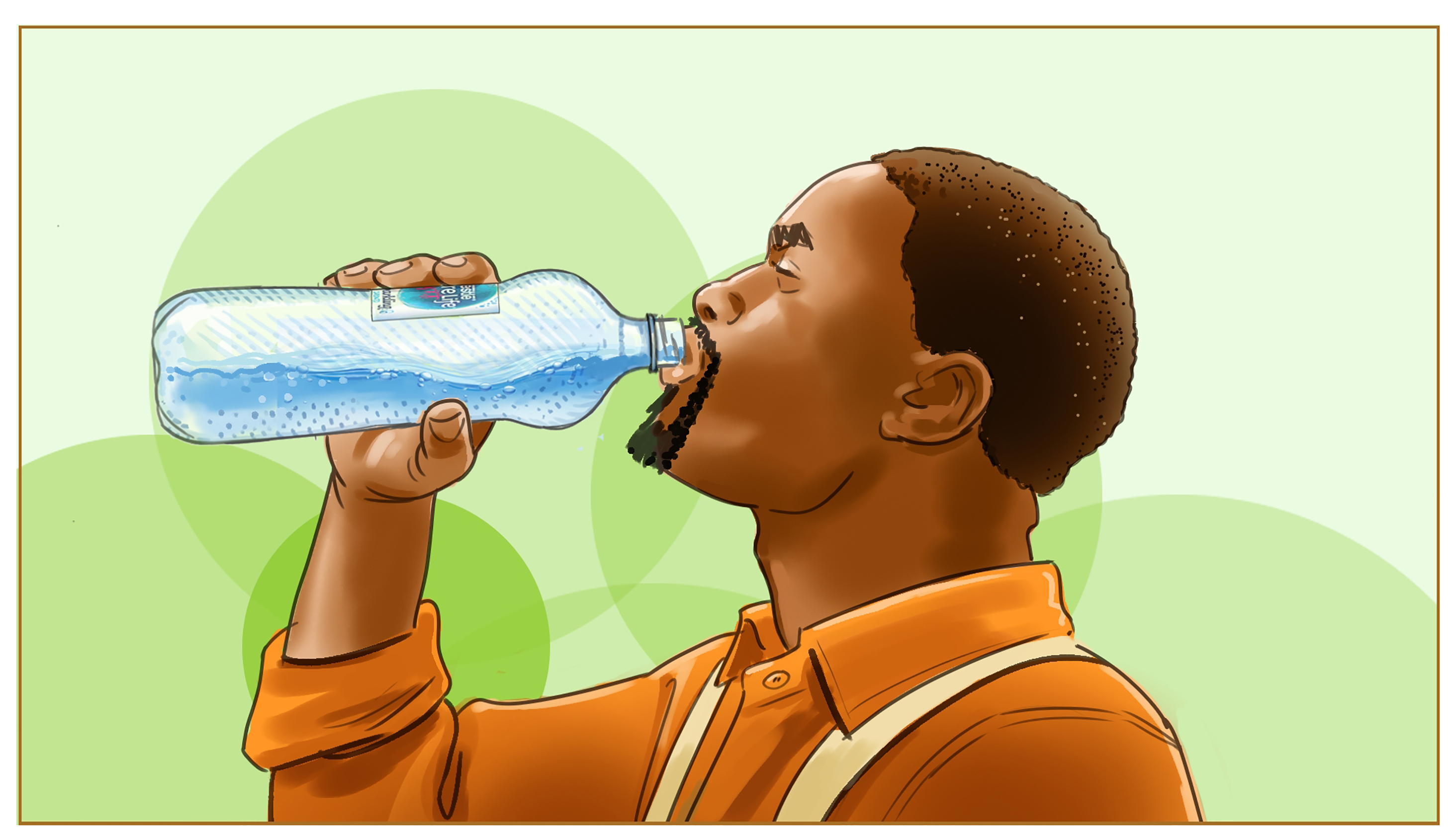 man drinking nestle water